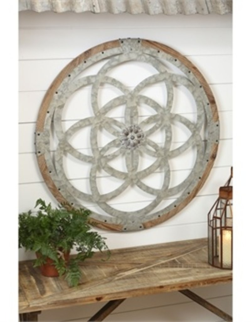 Galvanized Metal and Wood Medallion Wall Décor