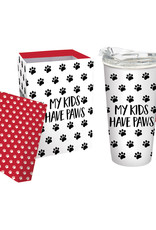 Ceramic Travel Cup, 17 OZ. ,w/box and Tritan Lid, My Kids Have Paws