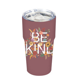 Double Wall Ceramic Companion Cup with Tritan Lid, 13 OZ, Be Kind