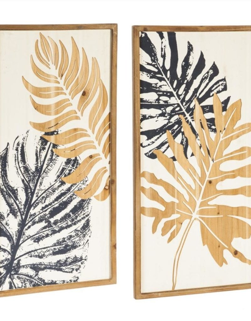 Carved Wood Floral Décor Set of 2