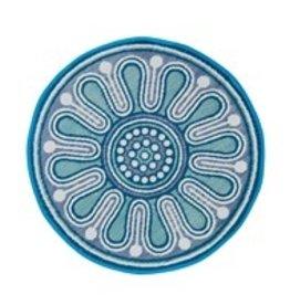 4' Indoor/Outdoor Round Rug Blue