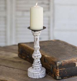 Wood Pillar Candle Holder w/ Round Base