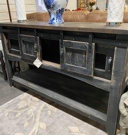 Barn Door Sofa Table w/Mesh - Black