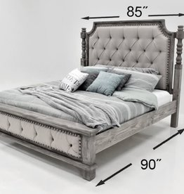 Charleston King Bed SET- Nero Black/Wheat Fabric