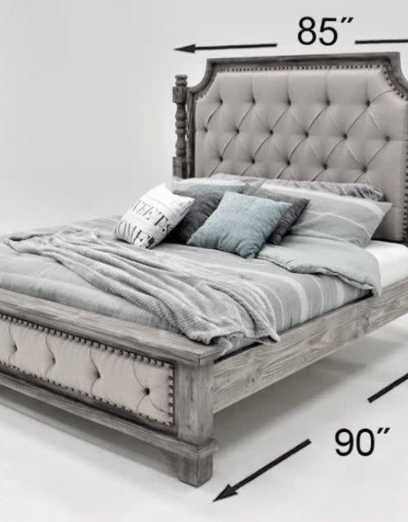 Charleston King Bed SET - Nero Black/Gray Fabric