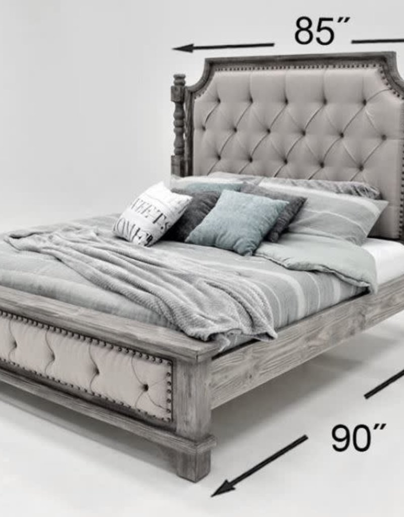 Charleston King Bed SET - Granite w/Gray Fabric