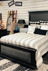 Janelle King Bed SET No Mirror- Nero Black/Gray Fabric