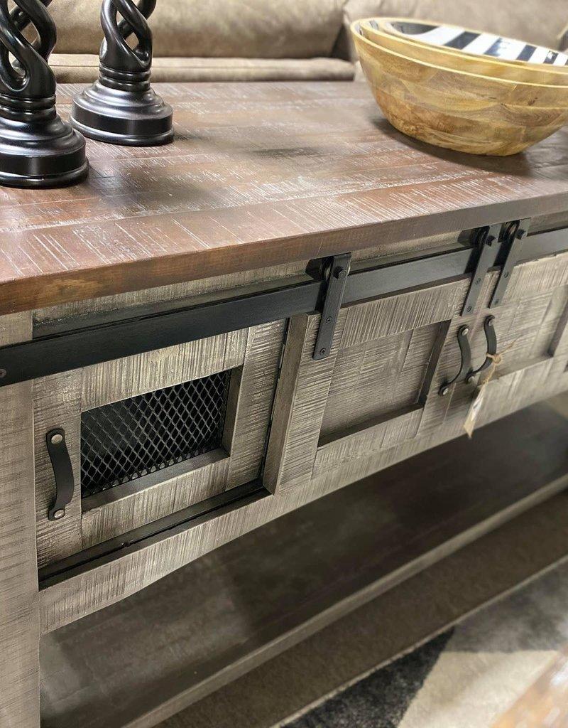 Barn Door Sofa Table w/Mesh - Gray
