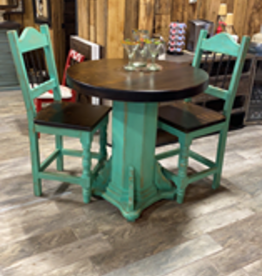 Counter Height Bistro Table w/2 Chairs - Turquoise