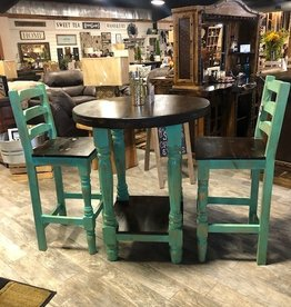 Round Bistro Table w/2 Chairs - Turquoise