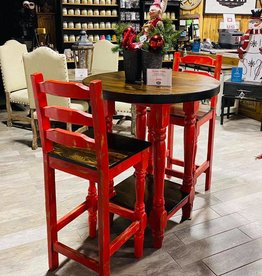 Round Bistro Table w/2 Chairs - Red