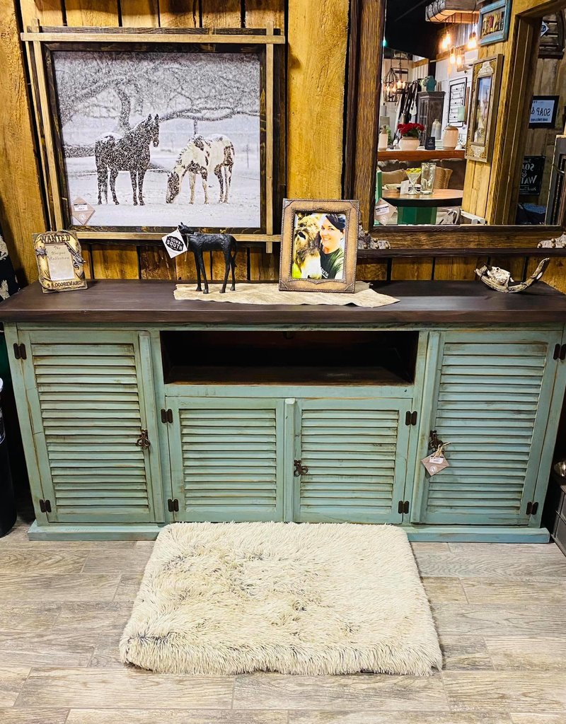 """Imperial 80"""" TV Stand - Distressed Turquoise"""