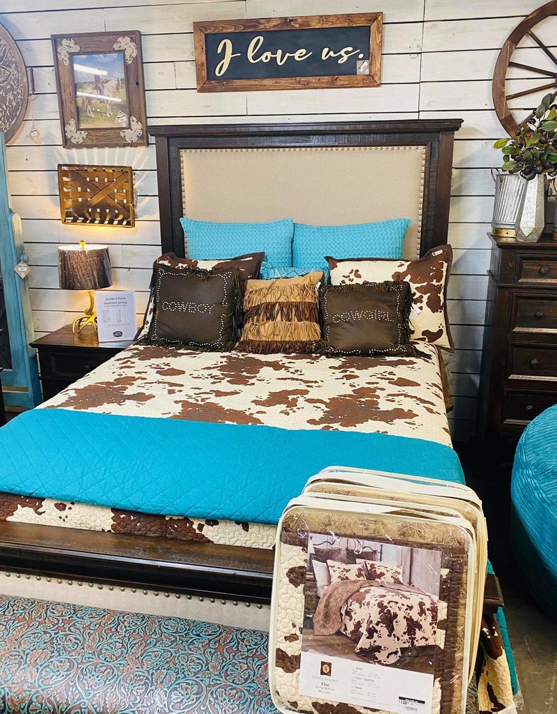 Janelle Queen Bed SET - Rodeo/Wheat Fabric