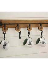5 Hook Metal and Wood Wall Hook