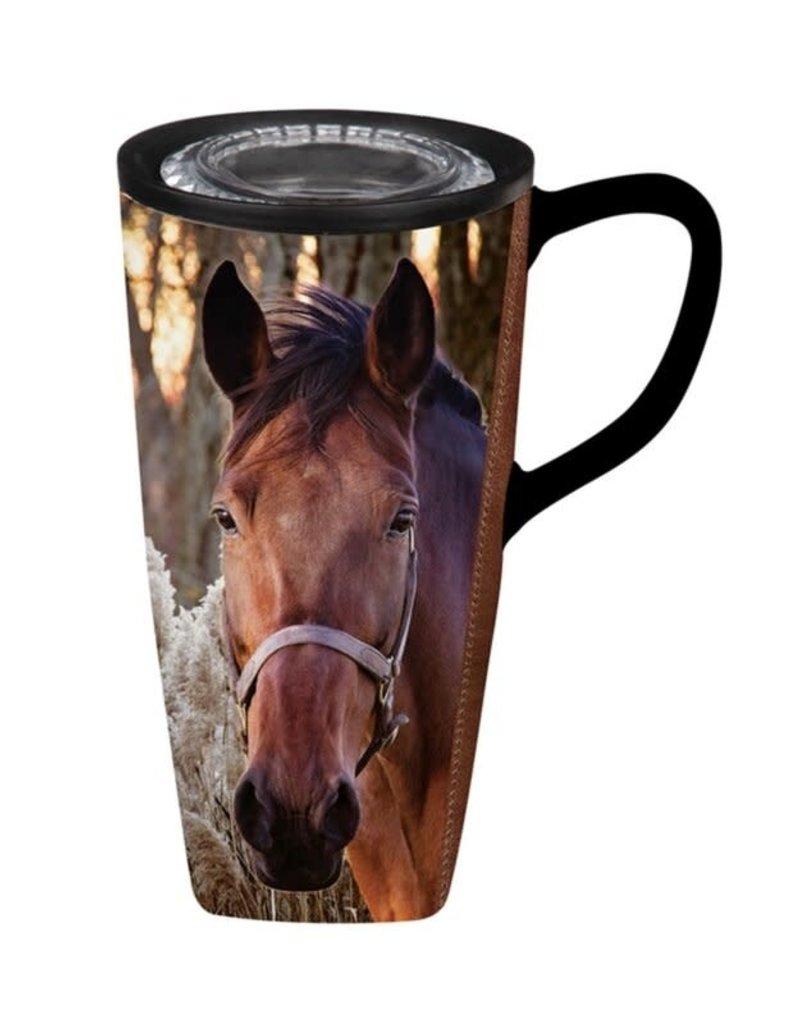Horse with Reeds Flomo Ceramic Coffee Mug