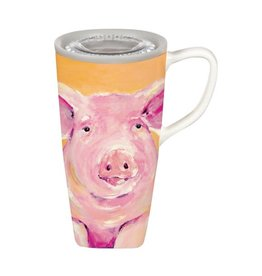 Evergreen Enterprises Farmhouse ceramic pig flomo travel cup 17 oz
