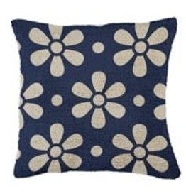 "Hooked Pillow 18""x18"" Daisy Chain Blue"