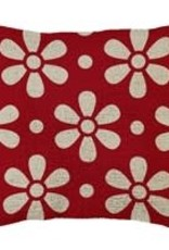 """Hooked Pillow 18""""x18"""" Daisy Chain Red"""