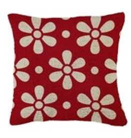 "Hooked Pillow 18""x18"" Daisy Chain Red"