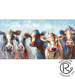Colorful Cow Herd Canvas 28 X 56