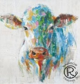 Colorful Cow Canvas 40 X 40