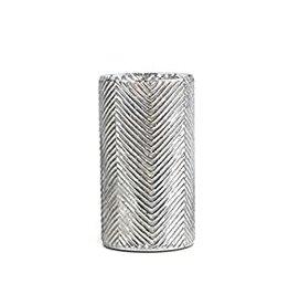 "Mercury Glass Vase with Herringbone Pattern 11"""