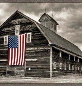 Barn with Flag 30 x 40
