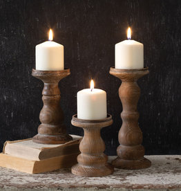 Set of Three Wooden Pillar Candle Holders