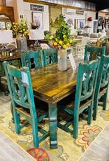 """72"""" Yugo Leg Dining Set - Turquoise"""