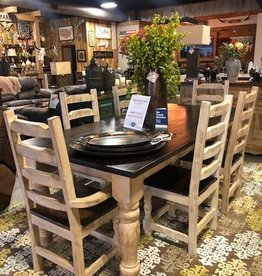 7' Round Leg Dining Set (6 Chairs) - Cream