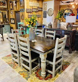 6' Round Leg Dining Set (6 Chairs) - Gray