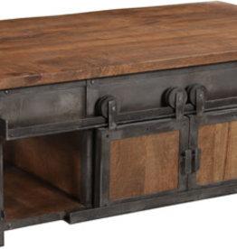 Weler 4 Sliding Door Coffee Table - Brown & Gunmetal