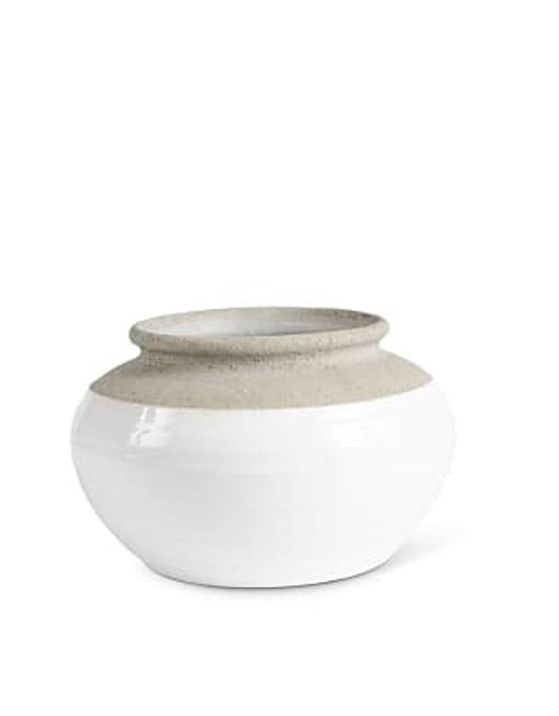 "White and Natural Stone Ceramic Pots 10"""
