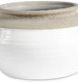 "White and Natural Stone Ceramic Pots 12.5"""