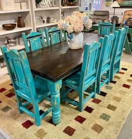 8' Round Leg Dining Set (8 Chairs)  - Turquoise