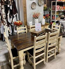 6' Round Leg Dining Set (6 Chairs) - Cream
