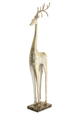 Gold and White Painted Iron Standing Tall Deer Statue