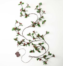 Holly and Berry Lighted Holiday Garland