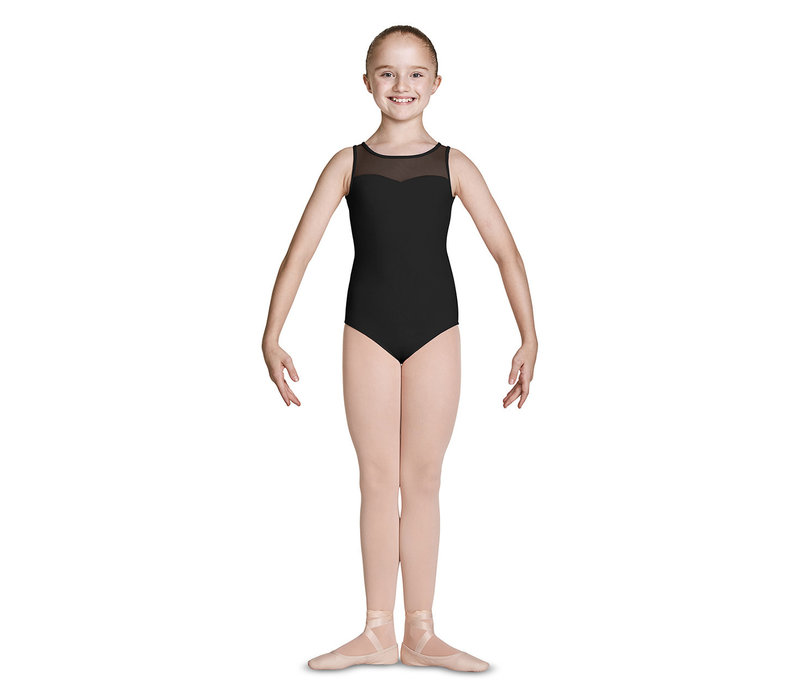 Emb Mesh Open Back Bow Tank Leotard