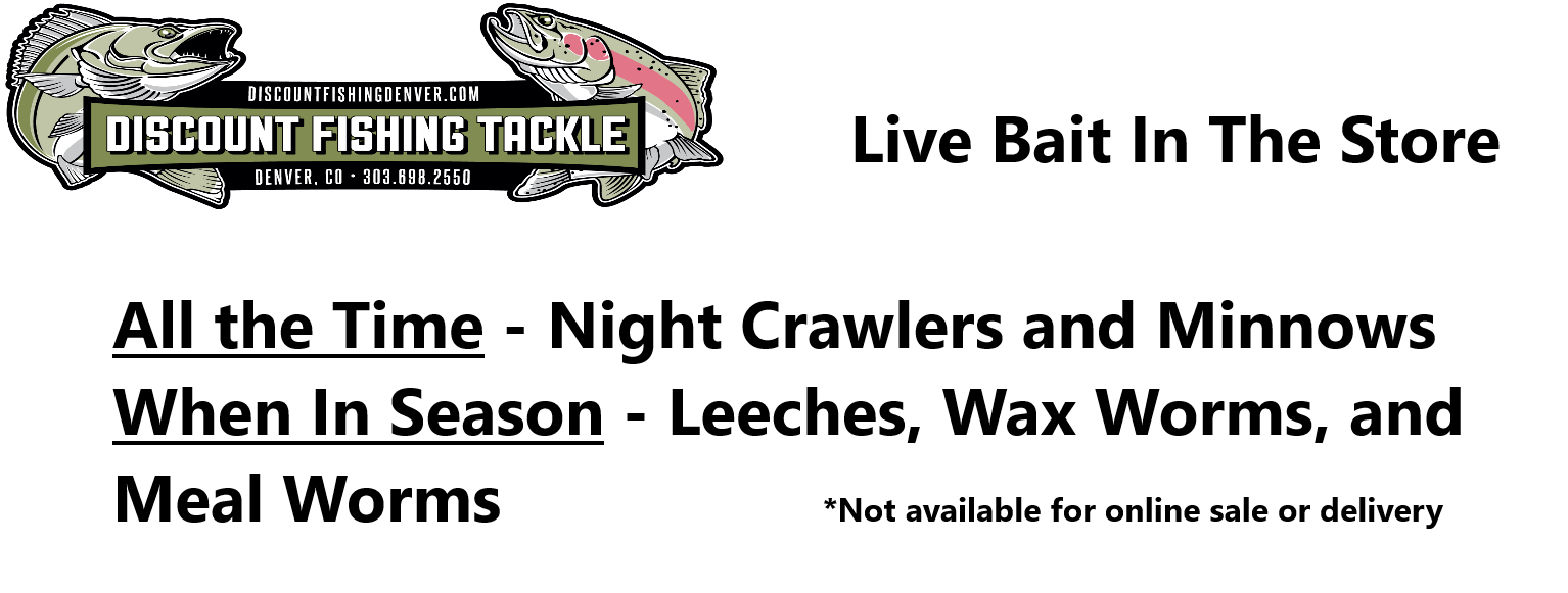 Live bait always in stock:  Night Crawlers, Minnows (Leeches, Wax Worms, and Meal Worms available when in season)