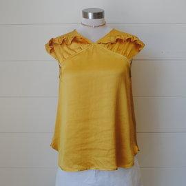 Morgan Claire Ruffle Sleeve Silk Blouse
