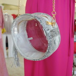 Morgan Claire Clear Snake Round Shoulder Bag