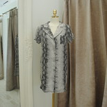 Morgan Claire Short Sleeve Collared Snakeskin Dress
