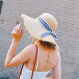 Morgan Claire Straw Hat with Gingham Tie