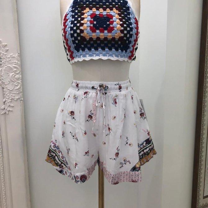 Morgan Claire Flouncy Drawstring Patterned Shorts