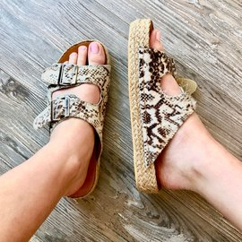 Morgan Claire Animal Print Double Buckle Sandal