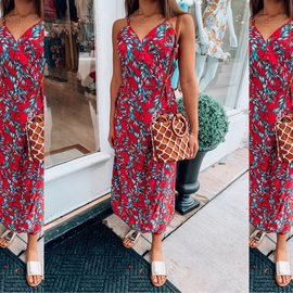 Morgan Claire Palm Print Wrap Maxi