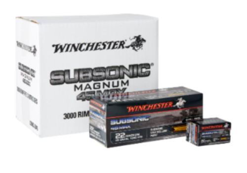 WIN924-WINCHESTER SUBSONIC 22WMR 45GR HP 50RNDS
