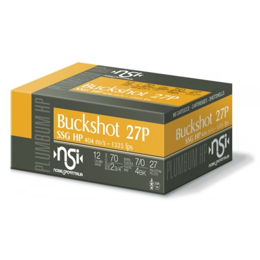 BWA003-NSI (NOBEL SPORT ITALIA) BUCKSHOT 27P 12G 70MM SSG/4-BUCK 1325FPS 10RNDS