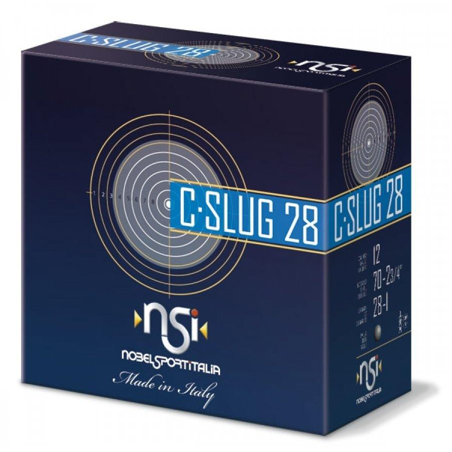 BWA007-NSI (NOBEL SPORT ITALIA) C-SLUG 12G 70MM 28GM RIFLED SLUG 1378FPS 25RNDS